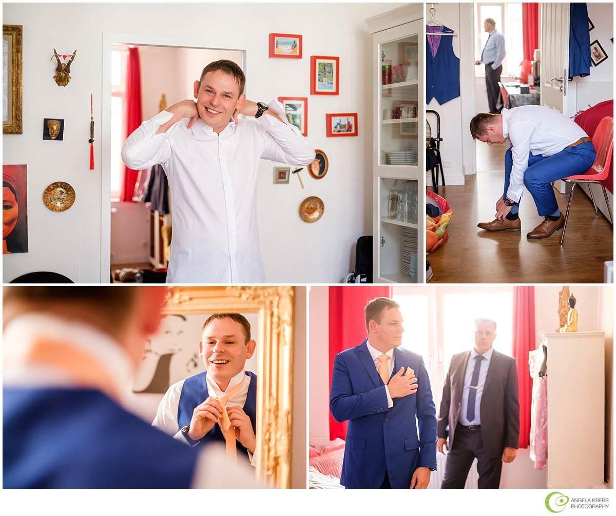 Hochzeit in der Wolkenburg - Hochzeitsfotograf Köln - Ankleidung Bräutigam