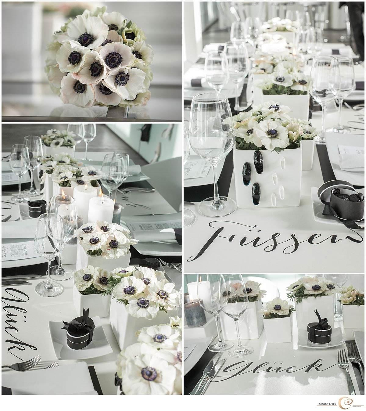 Tischdekoration schwarzweiss