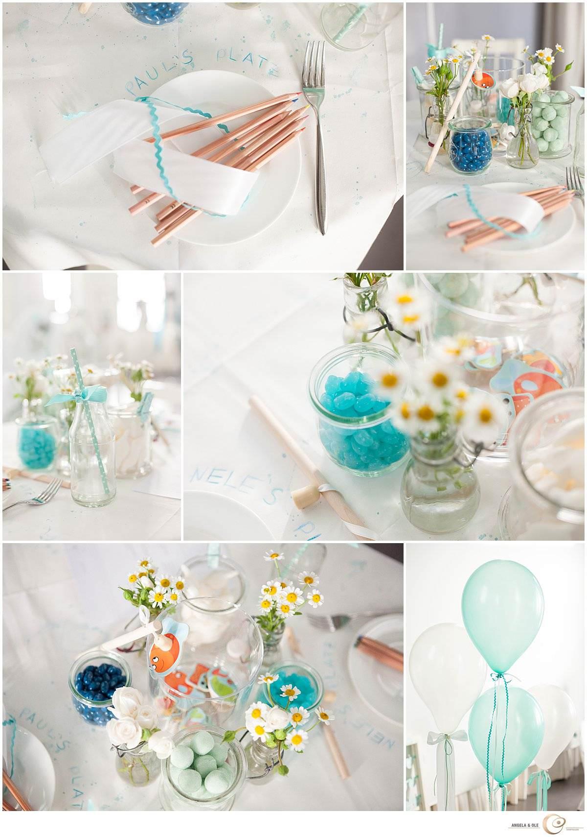 Kindertisch - Hochzeitsdekoration in Mint