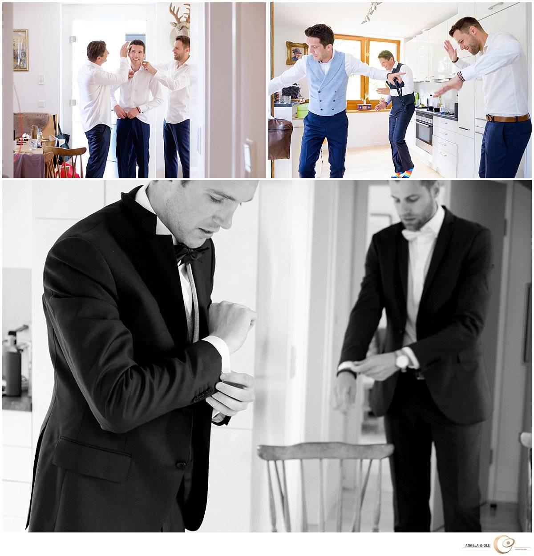 Hochzeit im Lockschuppen Erkrath Ankleidung Bräutigam