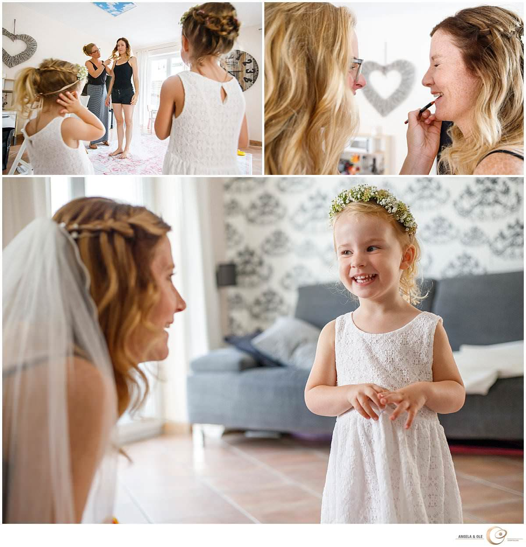 Braut mit Blumenmädchen - Hochzeit im Kölner Golfclub - Hochzeitsfotograf Köln, Pulheim und nrw